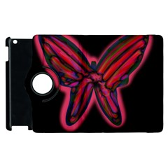 Red butterfly Apple iPad 3/4 Flip 360 Case