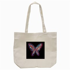 Neon butterfly Tote Bag (Cream) by Valentinaart