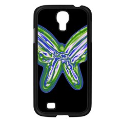 Green Neon Butterfly Samsung Galaxy S4 I9500/ I9505 Case (black) by Valentinaart
