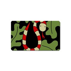 Red Cartoon Snake Magnet (name Card) by Valentinaart