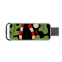 Red Cartoon Snake Portable Usb Flash (one Side) by Valentinaart