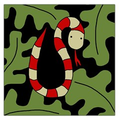 Red Cartoon Snake Large Satin Scarf (square) by Valentinaart