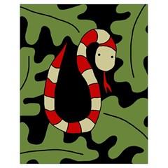 Red Cartoon Snake Drawstring Bag (small) by Valentinaart
