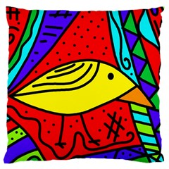 Yellow Bird Large Cushion Case (two Sides) by Valentinaart