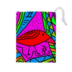 Red Bird Drawstring Pouches (large)  by Valentinaart