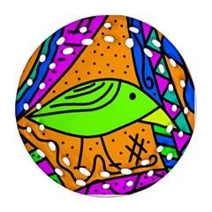 Green Bird Round Filigree Ornament (2side) by Valentinaart