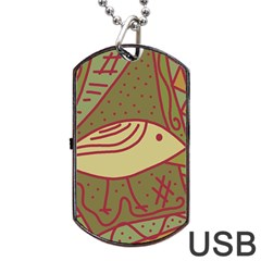 Brown bird Dog Tag USB Flash (Two Sides)  by Valentinaart