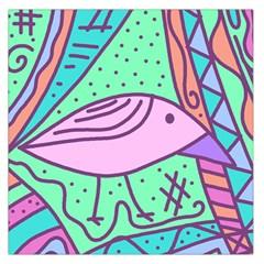 Pink Pastel Bird Large Satin Scarf (square) by Valentinaart