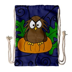 Halloween owl and pumpkin Drawstring Bag (Large) by Valentinaart