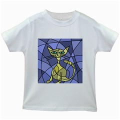 Artistic Cat   Yellow Kids White T Shirts by Valentinaart