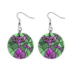 Artistic Cat   Purple Mini Button Earrings by Valentinaart