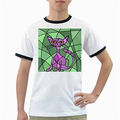 Artistic Cat   Purple Ringer T Shirts by Valentinaart