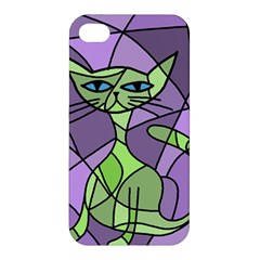 Artistic Cat   Green Apple Iphone 4/4s Hardshell Case by Valentinaart