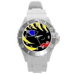 Blond Girl Round Plastic Sport Watch (l) by Valentinaart