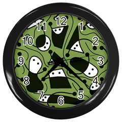 Playful Abstract Art   Green Wall Clocks (black) by Valentinaart