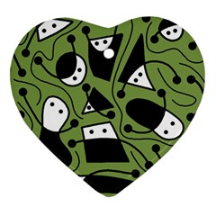 Playful abstract art - green Heart Ornament (2 Sides) by Valentinaart