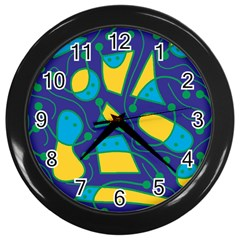 Playful Abstract Art   Blue And Yellow Wall Clocks (black) by Valentinaart