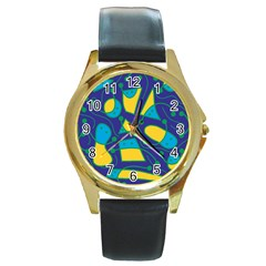 Playful Abstract Art   Blue And Yellow Round Gold Metal Watch by Valentinaart
