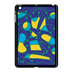 Playful abstract art - blue and yellow Apple iPad Mini Case (Black) by Valentinaart