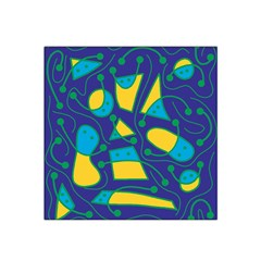 Playful Abstract Art   Blue And Yellow Satin Bandana Scarf by Valentinaart