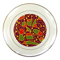 Playful Decorative Abstract Art Porcelain Plates by Valentinaart