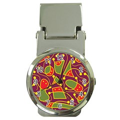 Playful Decorative Abstract Art Money Clip Watches by Valentinaart