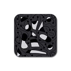 Playful Abstract Art   Gray Rubber Square Coaster (4 Pack)  by Valentinaart