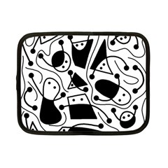 Playful Abstract Art   White And Black Netbook Case (small)  by Valentinaart