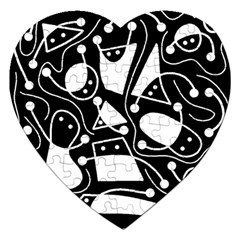 Playful Abstract Art   Black And White Jigsaw Puzzle (heart) by Valentinaart