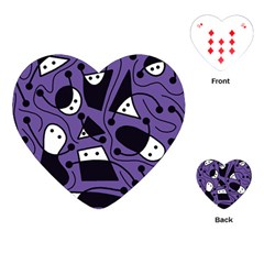 Playful Abstract Art   Purple Playing Cards (heart)  by Valentinaart