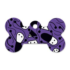Playful Abstract Art   Purple Dog Tag Bone (two Sides) by Valentinaart