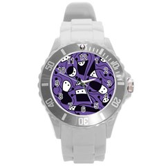 Playful Abstract Art   Purple Round Plastic Sport Watch (l) by Valentinaart