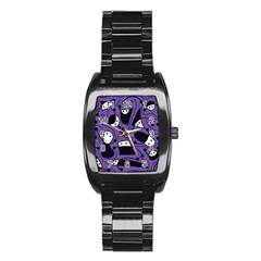 Playful Abstract Art   Purple Stainless Steel Barrel Watch by Valentinaart