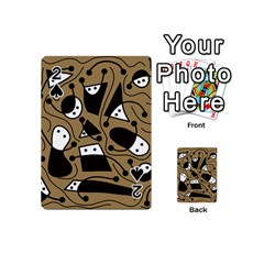 Playful Abstract Art   Brown Playing Cards 54 (mini)  by Valentinaart