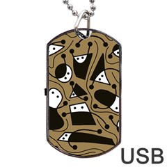Playful abstract art - Brown Dog Tag USB Flash (One Side) by Valentinaart