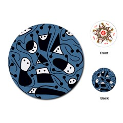 Playful Abstract Art   Blue Playing Cards (round)  by Valentinaart