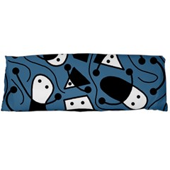 Playful Abstract Art   Blue Body Pillow Case (dakimakura) by Valentinaart