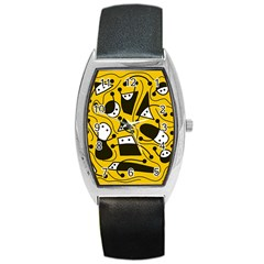 Playful Abstract Art   Yellow Barrel Style Metal Watch by Valentinaart