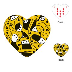 Playful Abstract Art   Yellow Playing Cards (heart)  by Valentinaart