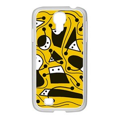 Playful Abstract Art   Yellow Samsung Galaxy S4 I9500/ I9505 Case (white) by Valentinaart