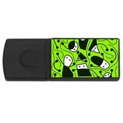 Playful Abstract Art   Green Usb Flash Drive Rectangular (4 Gb)  by Valentinaart