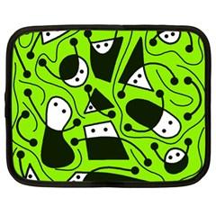 Playful Abstract Art   Green Netbook Case (xl)  by Valentinaart