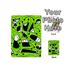 Playful abstract art - green Playing Cards 54 (Mini)  by Valentinaart