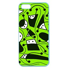 Playful Abstract Art   Green Apple Seamless Iphone 5 Case (color) by Valentinaart