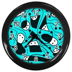 Playful Abstract Art   Cyan Wall Clocks (black) by Valentinaart