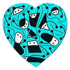 Playful Abstract Art   Cyan Jigsaw Puzzle (heart) by Valentinaart