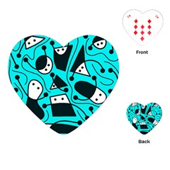 Playful Abstract Art   Cyan Playing Cards (heart)  by Valentinaart