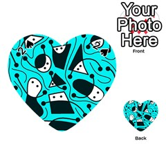 Playful Abstract Art   Cyan Playing Cards 54 (heart)  by Valentinaart