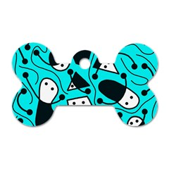 Playful abstract art - cyan Dog Tag Bone (One Side) by Valentinaart