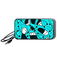 Playful Abstract Art   Cyan Portable Speaker (black)  by Valentinaart
